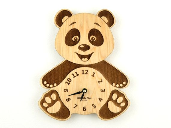 Wooden Clock Nursery Panda Bear Wall Clock Wood by KeepsakeToys ...