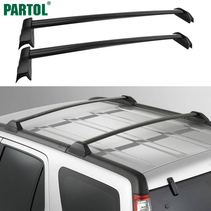 Partol 1 Pair Black Side Rails Car Roof Rack Cross Bars
