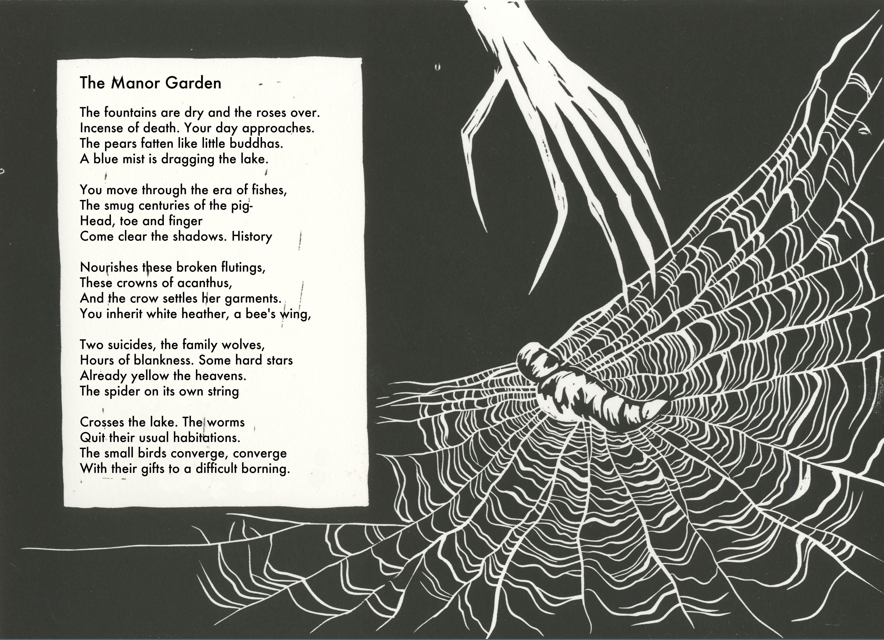 "Sylvia Plath - ""The Manor Garden,"" illustrated by Caitlin Parks (http://www.caitlinparks.com/drawings/manor-garden/)."