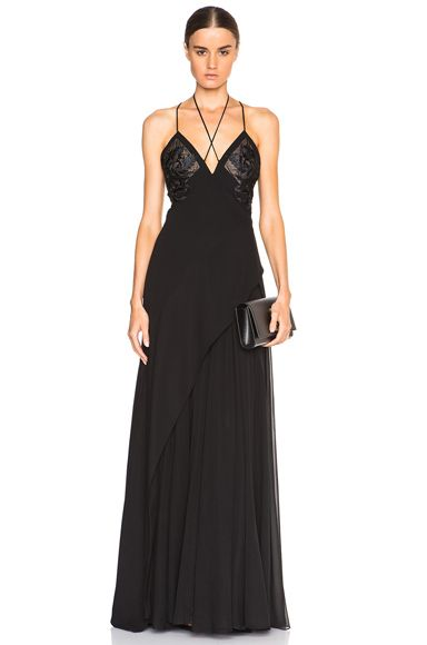 Crepe Negligee Gown with Lace Applique