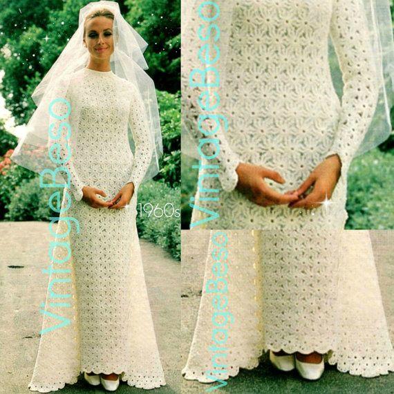Wedding Dress Crochet Pattern • Vintage 1960s Requires