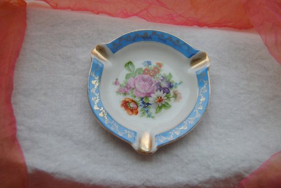 Antique Limoges Ashtray  Brilliant Baby Blue Gold
