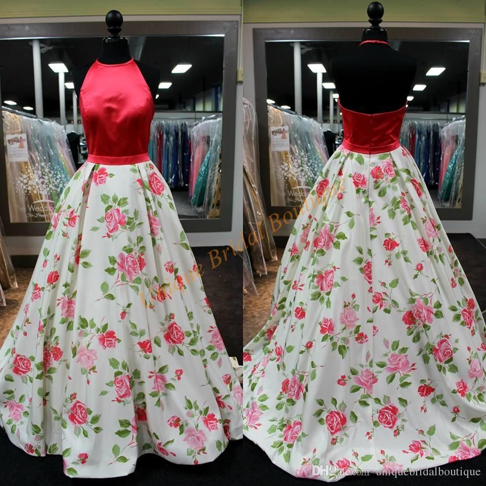 print floral quinceanera dresses red roses with halter neck and