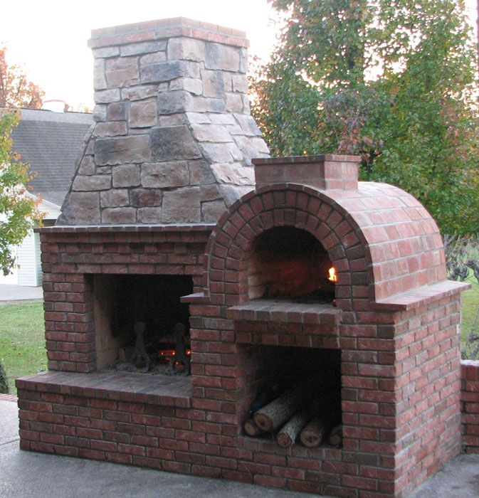 The Riley Family Wood Fired Diy Brick Pizza Oven And Fireplace Combo In Kentucky Brickwood Ovens Pizza Oven