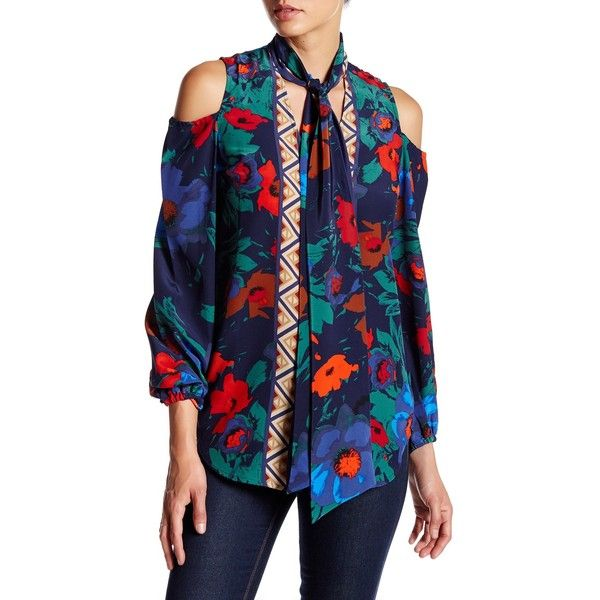 Tracy Reese Cold Shoulder Tie Neck Silk Blouse ($80) ❤ liked on Polyvore featuring tops, blouses, vibrant floral, long sleeve tie neck blouse, cut out shoulder top, floral blouses, silk tie neck blouse and cold shoulder blouse