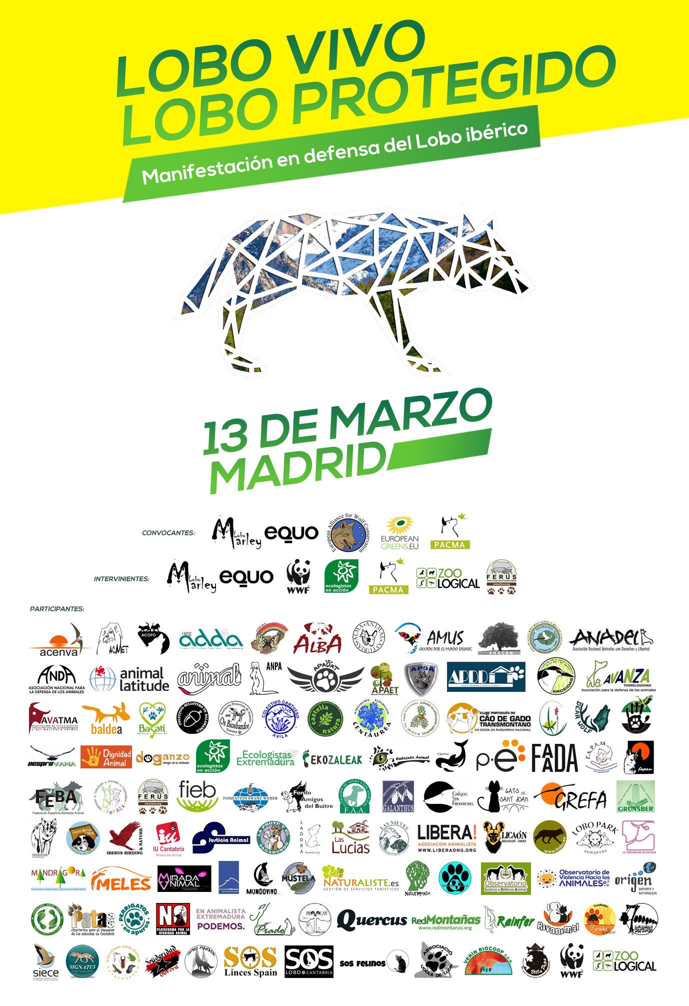 Más de 150 organizaciones se unen a la manifestación en Madrid por la protección del lobo ibérico 2016