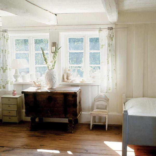 White Painted Beams Restored 1792 Swedish Farmhouse