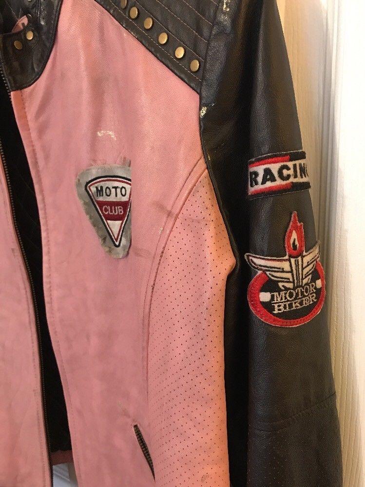 Wilson Leather Motorcyle Drag Race Jacket Pink Racing