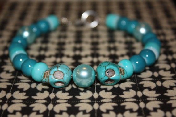 8 1/2 Skull Bracelet Blue Teal Turquoise Colors by NaturallyTorn, $29.00 Use LOVE2012 at checkout for 10% discount! 30% always goes to charity.