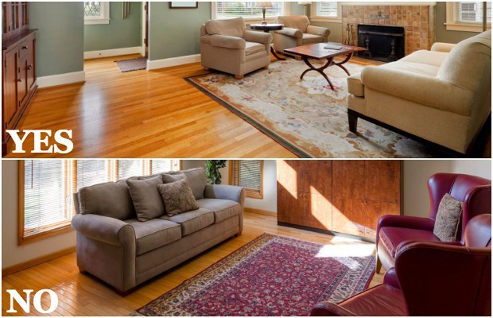 Choosing A Rug That S Too Small Hometips Rugs In Living Room Living Room Area Rugs Trendy Living Rooms