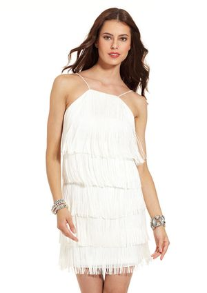 AIDAN MATTOX Sleeveless Tiered Dress with Fringe