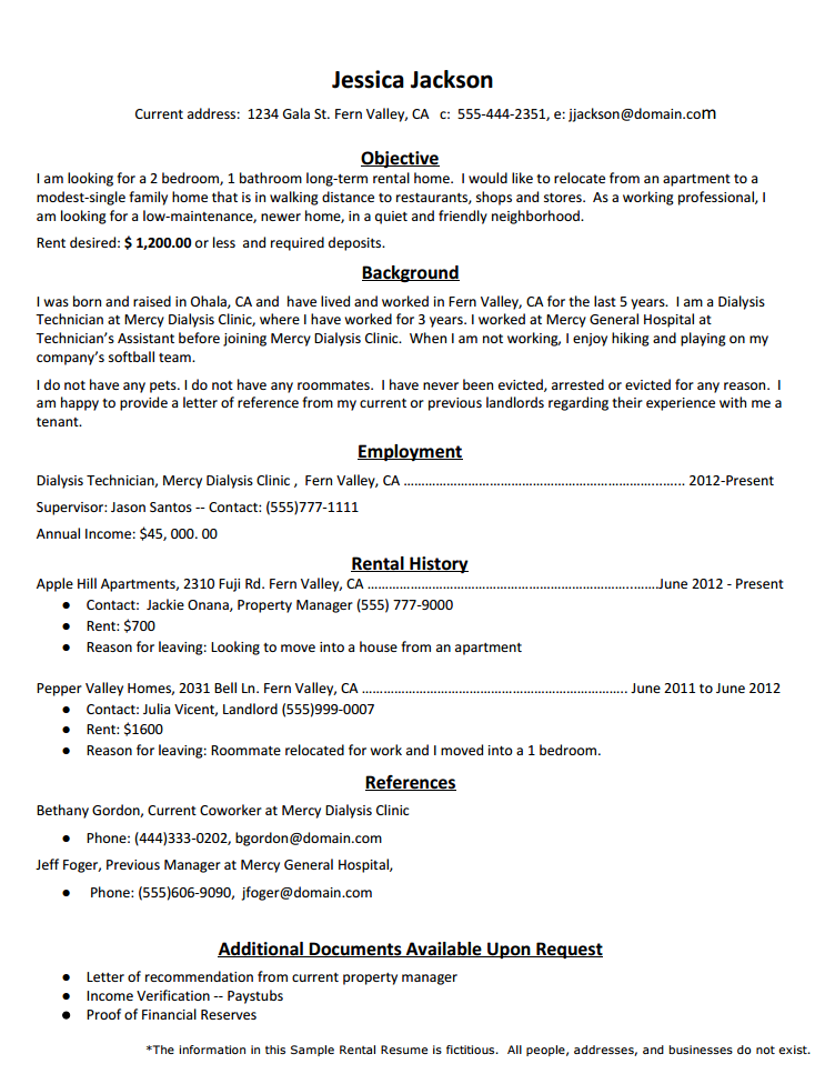 Rental Resume Template  Sflife