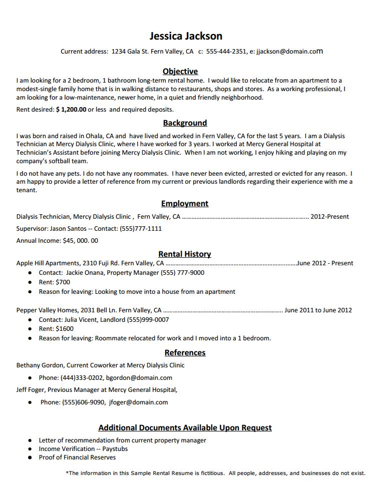 Rental Resume Template  SFlife in 2019  Resume Sample resume Resume layout