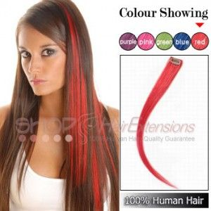 18 Inch 6pcs Highlight Clip In Human Hair Extensions Red 16 45
