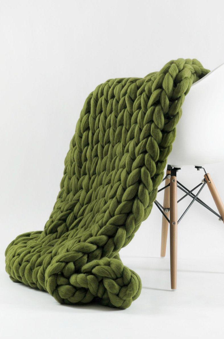 Handmade Chunky Knit Merino Wool Blanket  238d190a2c
