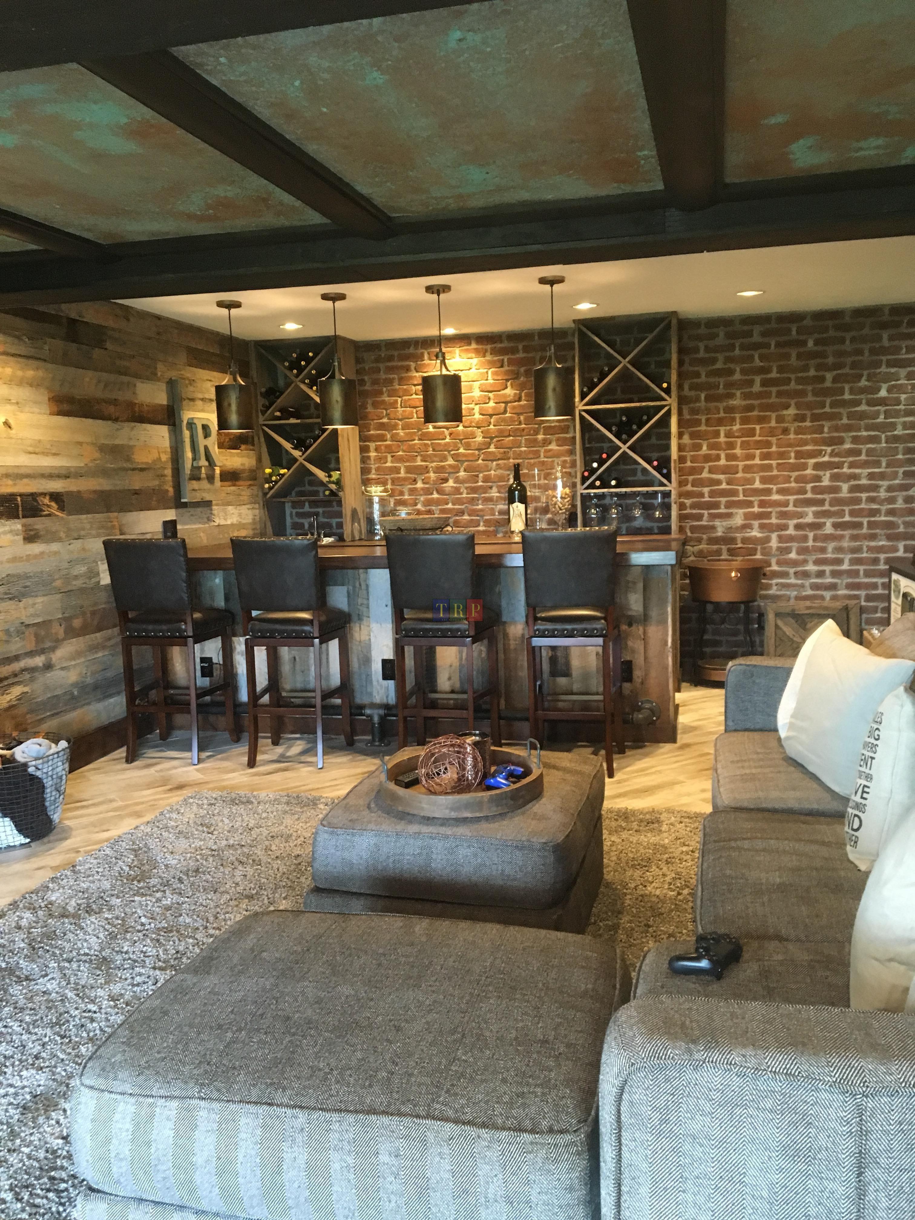Finish Basement Ideas Step To Finish Basement Floor And Ceiling Rustic Basement Home Theater Basement Basement Design
