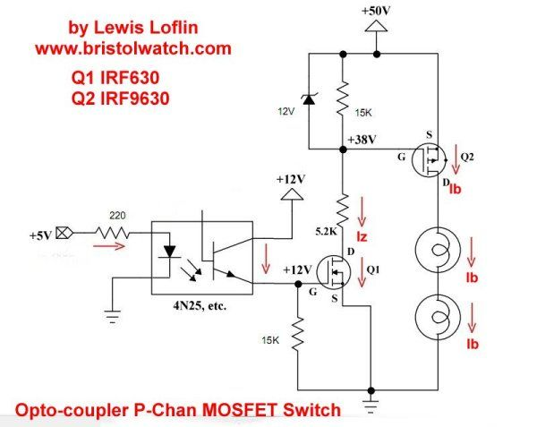 P Channel Opto Isolated Mosfet Switching Circuit Using Irf9630 Electronic Circuit Design Circuit Circuit Design