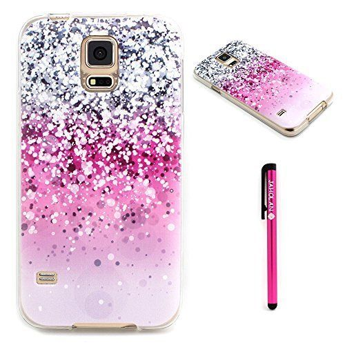Galaxy S5 Case Jaholan Pink Gray White Drops Pattern Clear Bumper Tpu Soft Case Rubber Silicone Skin C Bling Phone Cases Unique Phone Case Samsung Phone Cases
