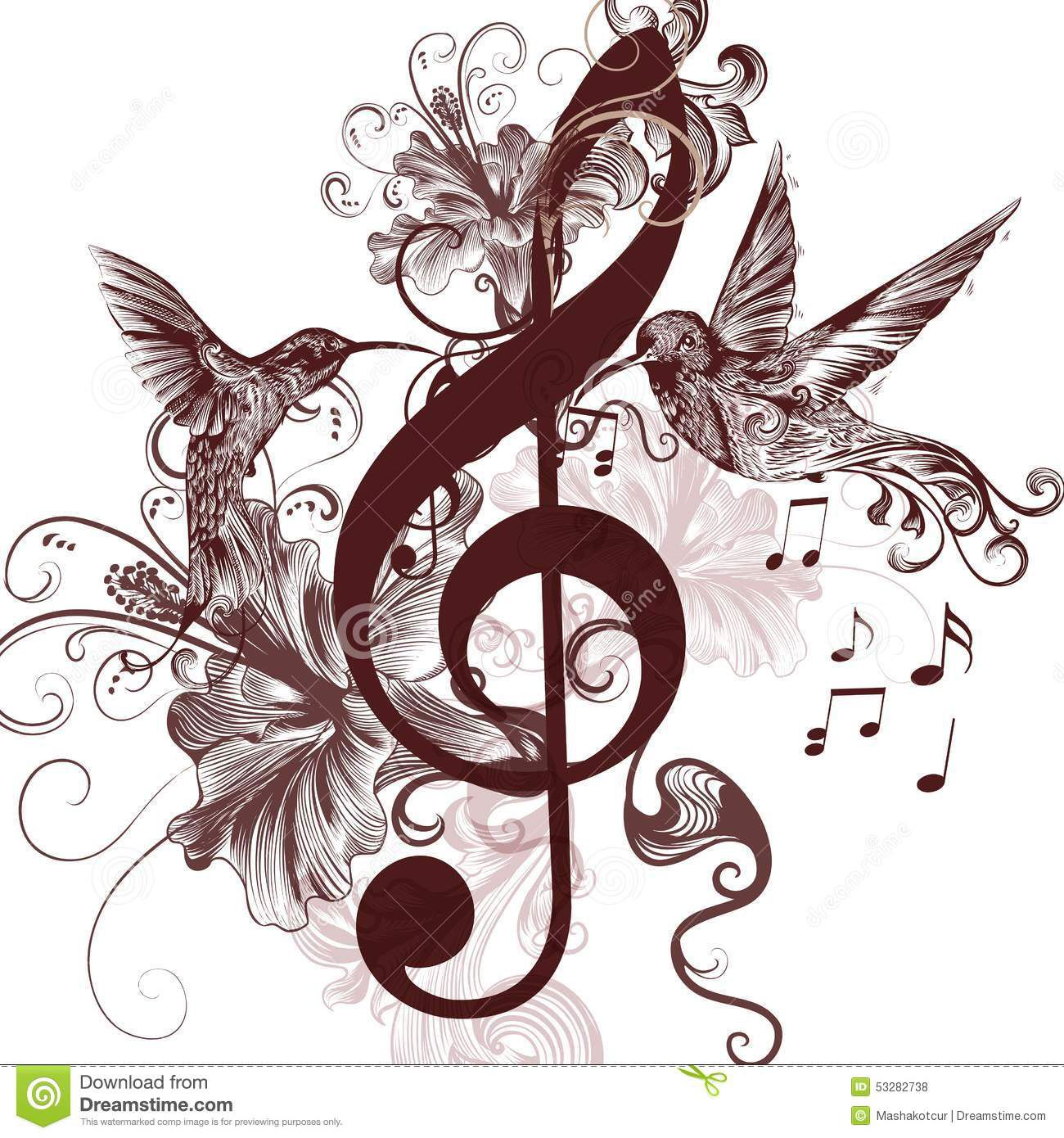 Take out the music symbols and move hummingbird closer