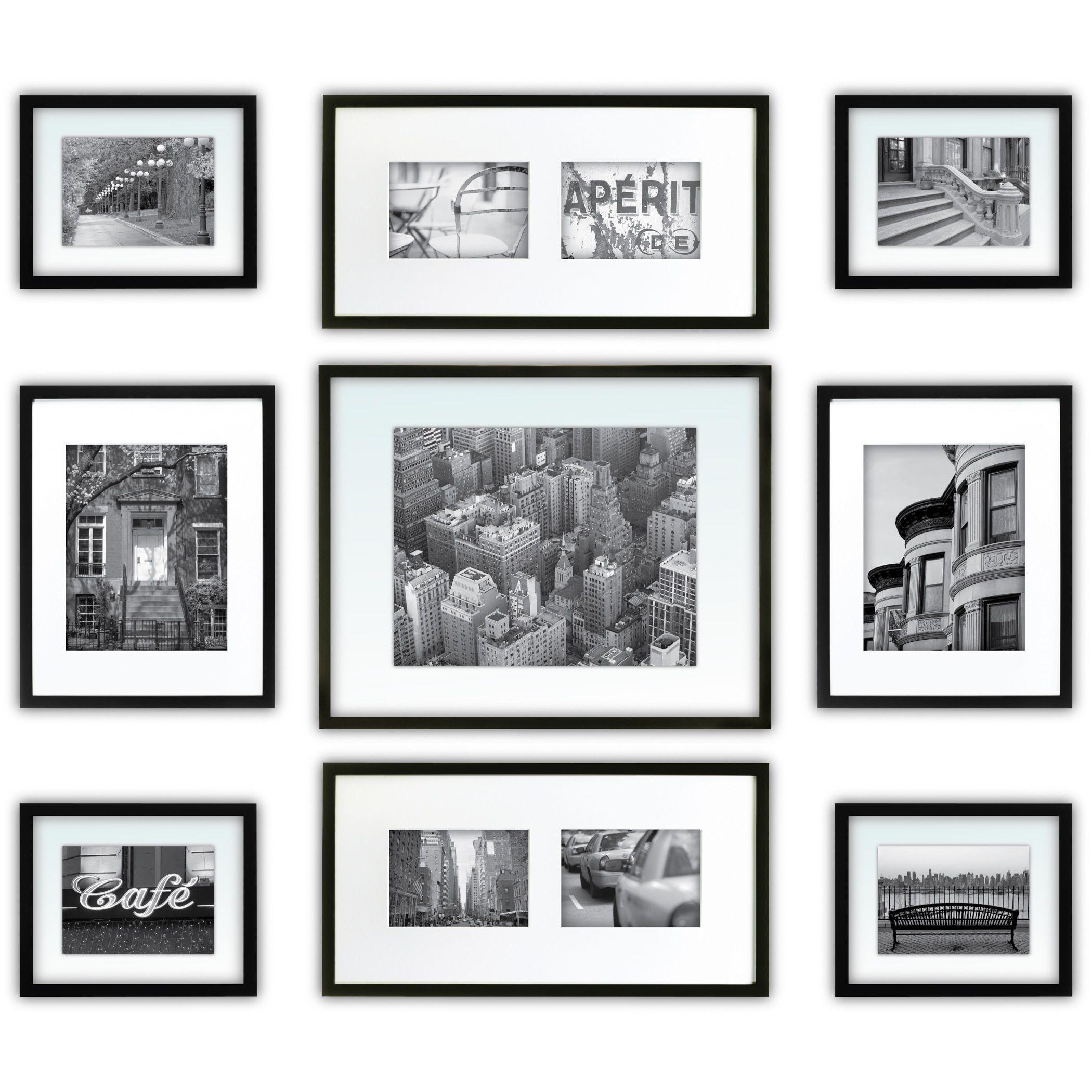Gallery Perfect Black Wood 9-piece Frame Kit (Black), Size 11x14 ...