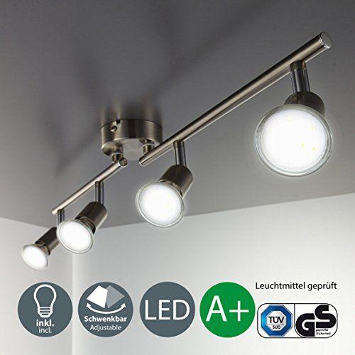 B K Licht Plafonnier Led 4 Spots Orientables 4x3w Gu10 Ip20 Spots