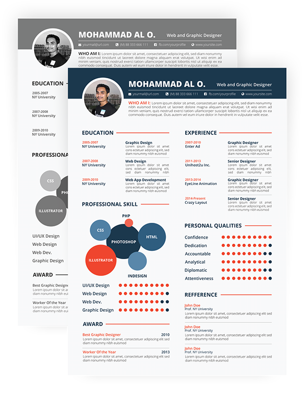 Free Resume Template  Print Ready  Two Color Versions On Behance