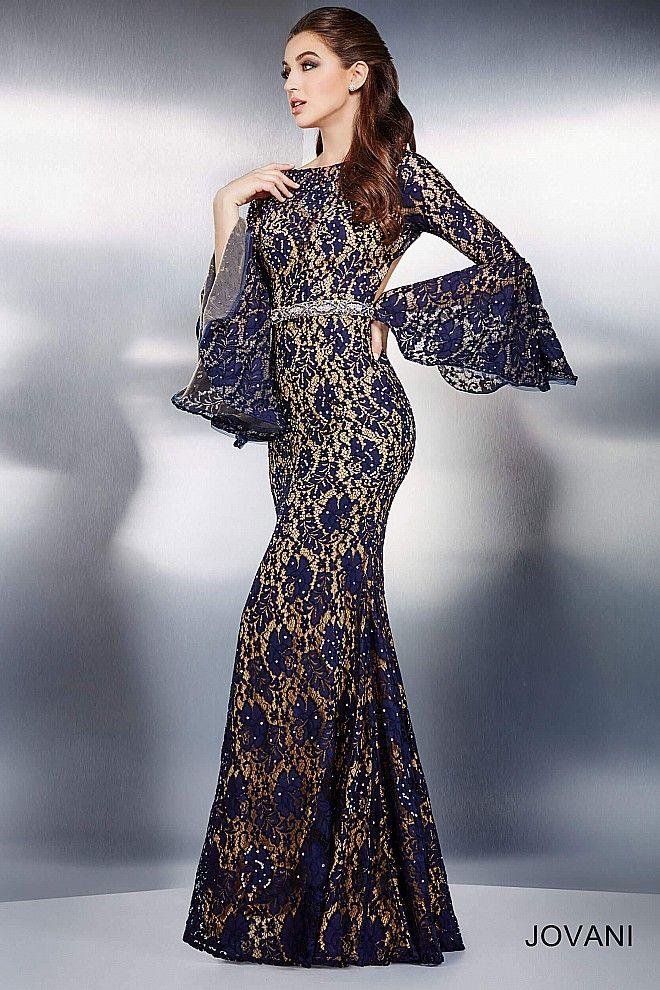 31936c33389 Navy Bell Sleeve Evening Dress 35160