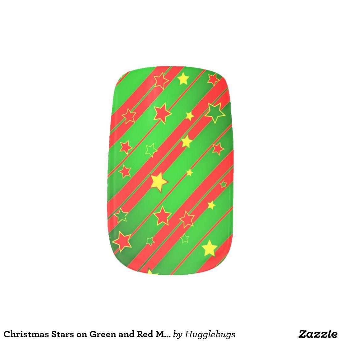 Christmas Stars on Green and Red Minx Nail Art | Christmas | Pinterest