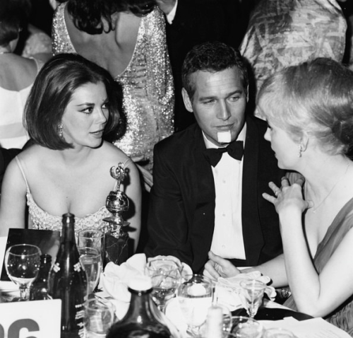 Natalie Wood with Paul Newman and his wife Joanne Woodward at Golden Globe Awards in 1966.