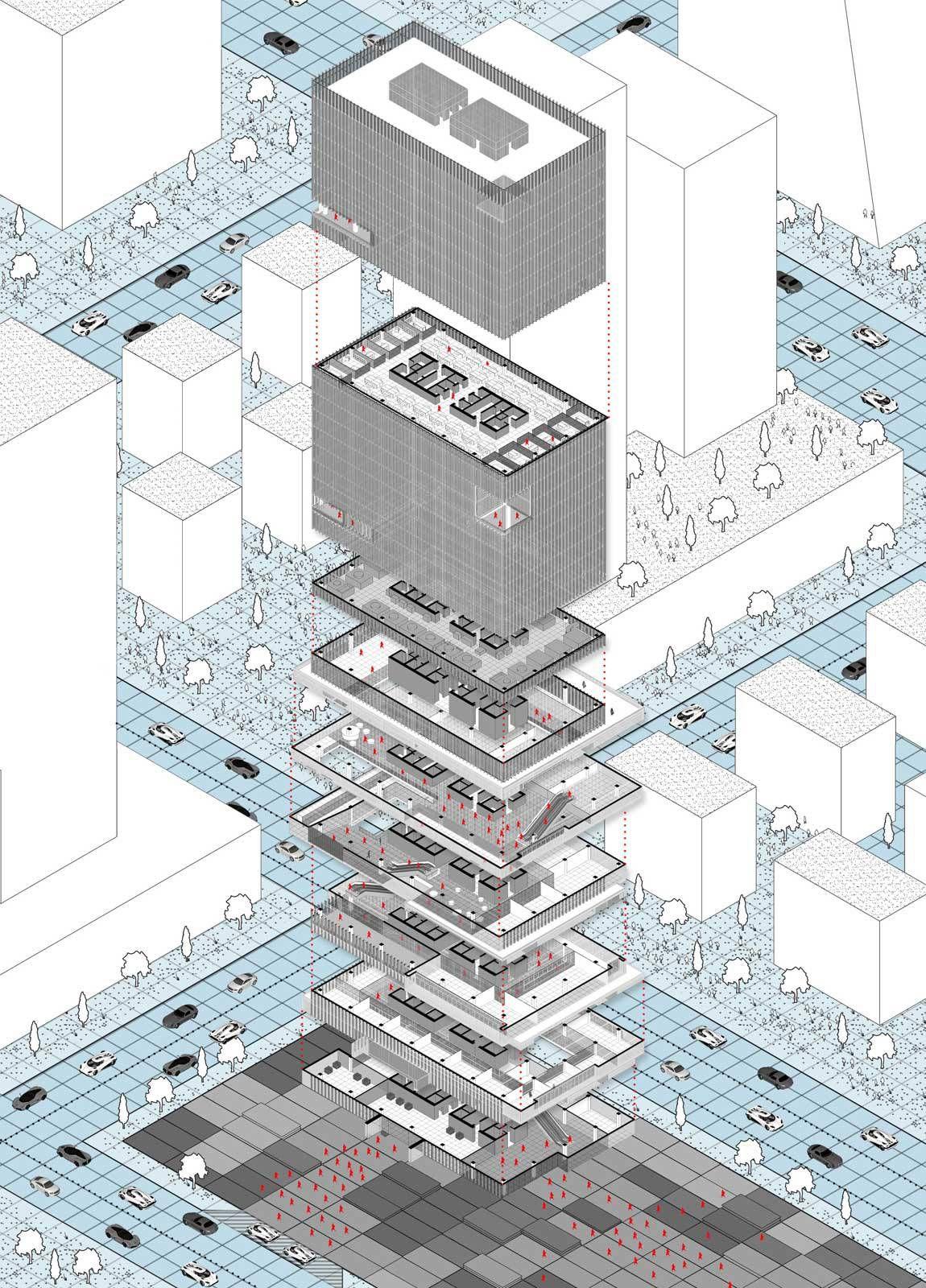 Office shopping mall tower rodrigo castro penalva work for Architektur axonometrie