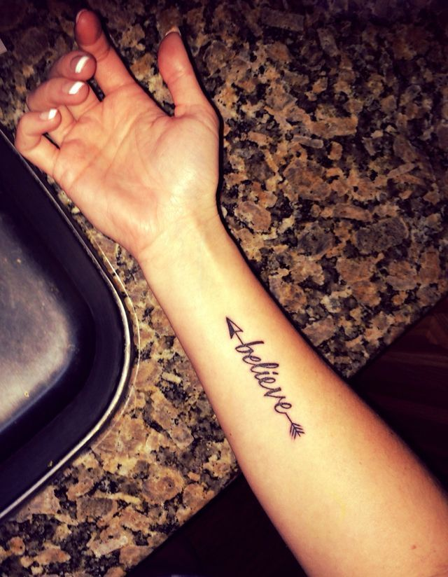 44fb7a1be Cute Arrow With Word Believe Tattoo On Arm | My Style | Believe ...
