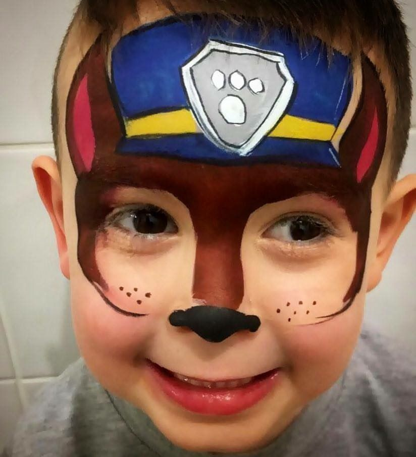 Paw patrol chase face painting | رسم  عالوجه | Dog face