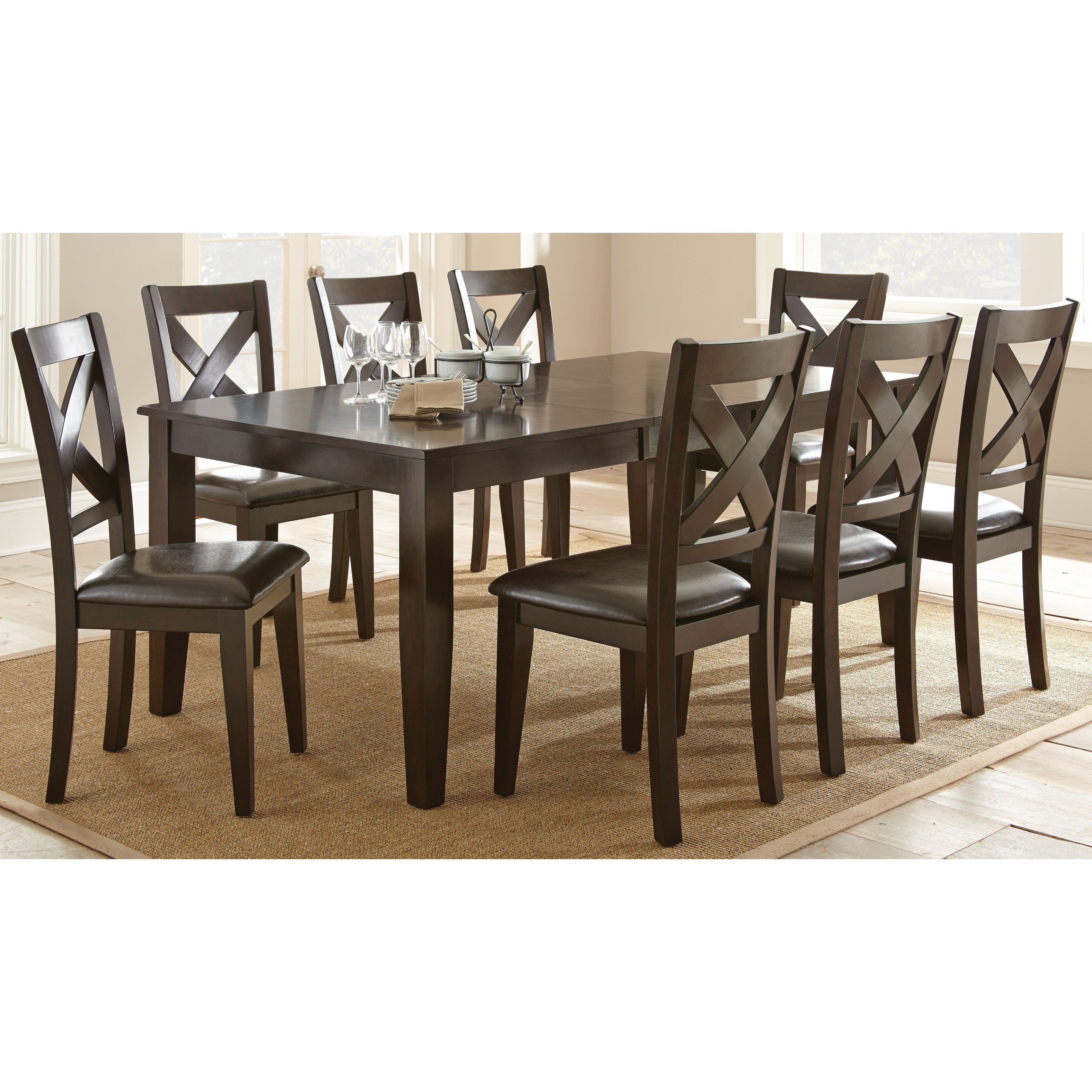 The Dark Espresso Finish Of Copley Dining Set Creates A Casual Style That Will Complement Any Decor Dine Comfortably In X Back Chairs With