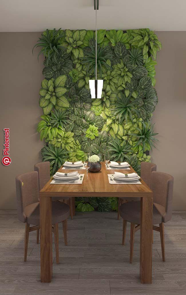 Green Room Garden Design: Living Green Chlorophytes Frame For The Dining Room