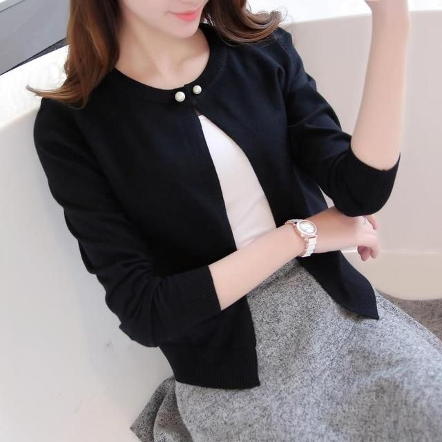 Knitted Cardigan Women Sweater Thin Coat Long Sleeves Single Button Outerwear