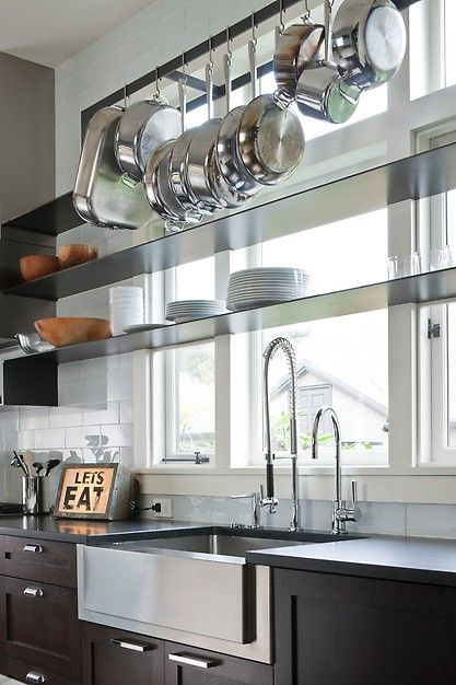deep stainless steel sink. Beautiful Contemporary Kitchen! The Thin Profile Shelves, Deep Stainless Steel Sink, And Sink