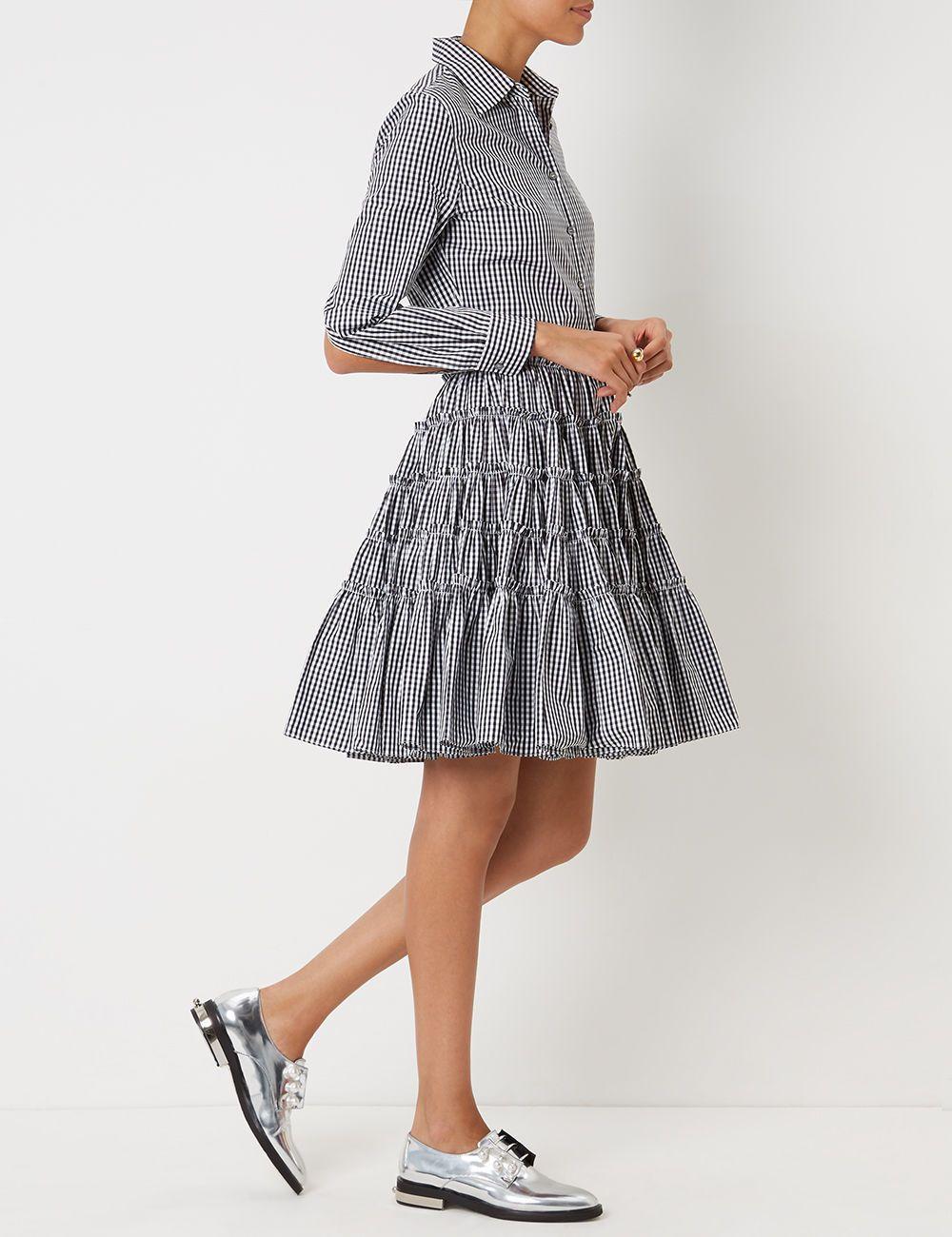 bdee1123447 Black   White Gingham Tiered Shirt Dress