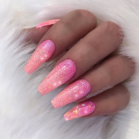 sunset glitter ombr nails Spring summer nail art design ...