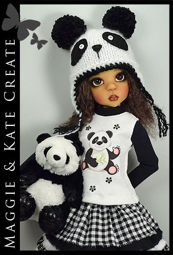 "OOAK * Panda * Outfit for Kaye Wiggs 18"" MSD BJD by Maggie & Kate Create"
