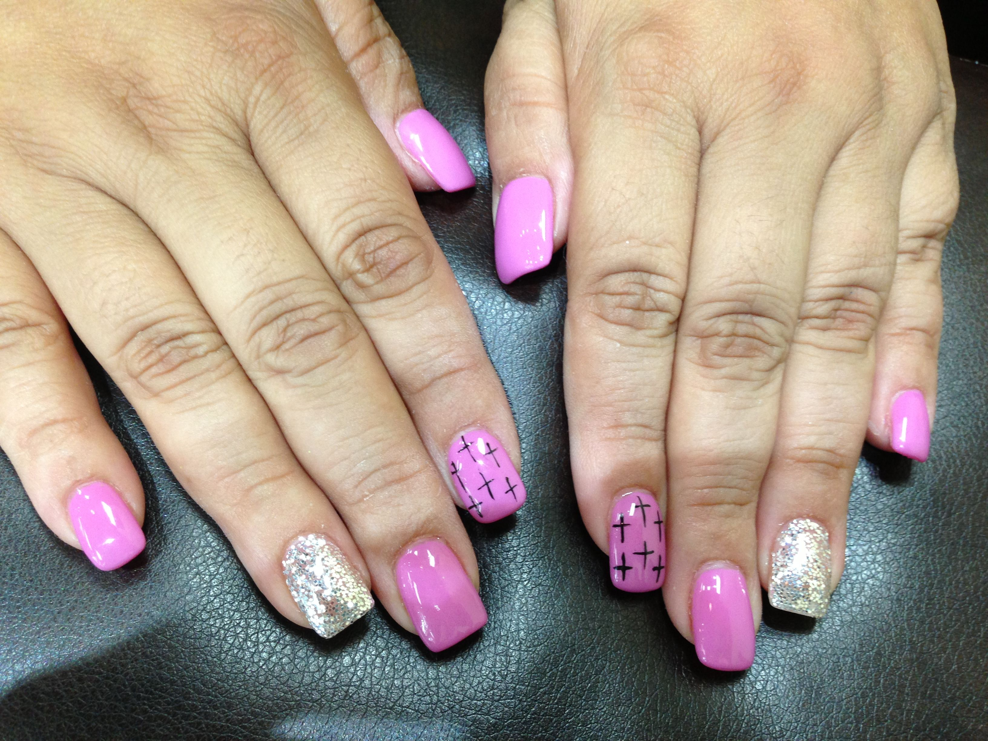 Fun Gel Nails With Crosses And Glitter Nails Pinterest Nail