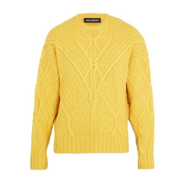 Neil Barrett Crew Neck Cable Knit Wool Sweater 635 Liked On Polyvore Featuring Men S Fashion Men S C Mens Cable Knit Sweater Clothes Design Wool Sweaters