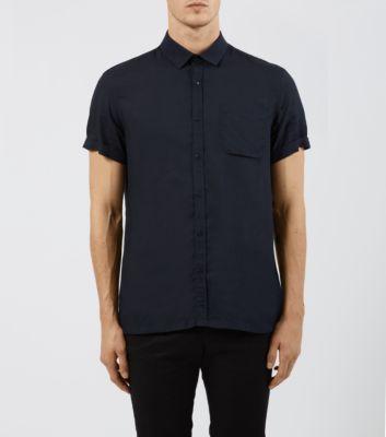 Navy Short Sleeve Plain Oversized Boxy Shirt