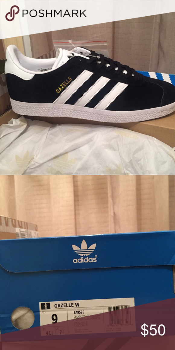 Adidas Gazelle Mens Trainers Black Multiple Sizes Brand New With Box
