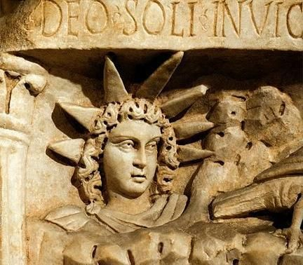 "Mithras ""deo sol invictus"" = god of the invincible sun. 