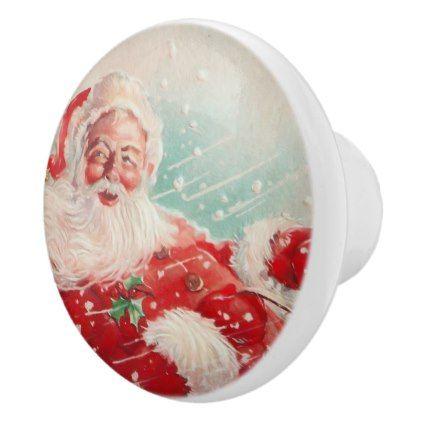 Cute vintage Santa Claus Ceramic Knob - merry christmas diy xmas