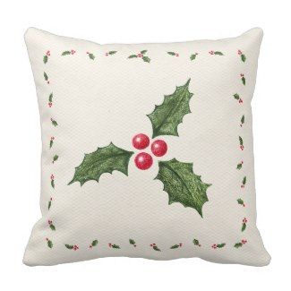 Christmas Holly Berries Pillow Christmas Holiday Throw Pillows 25% Off Sitewide!  Friends and family sale   Use Code: FRIENDZNFAMZ   Last day 10/20