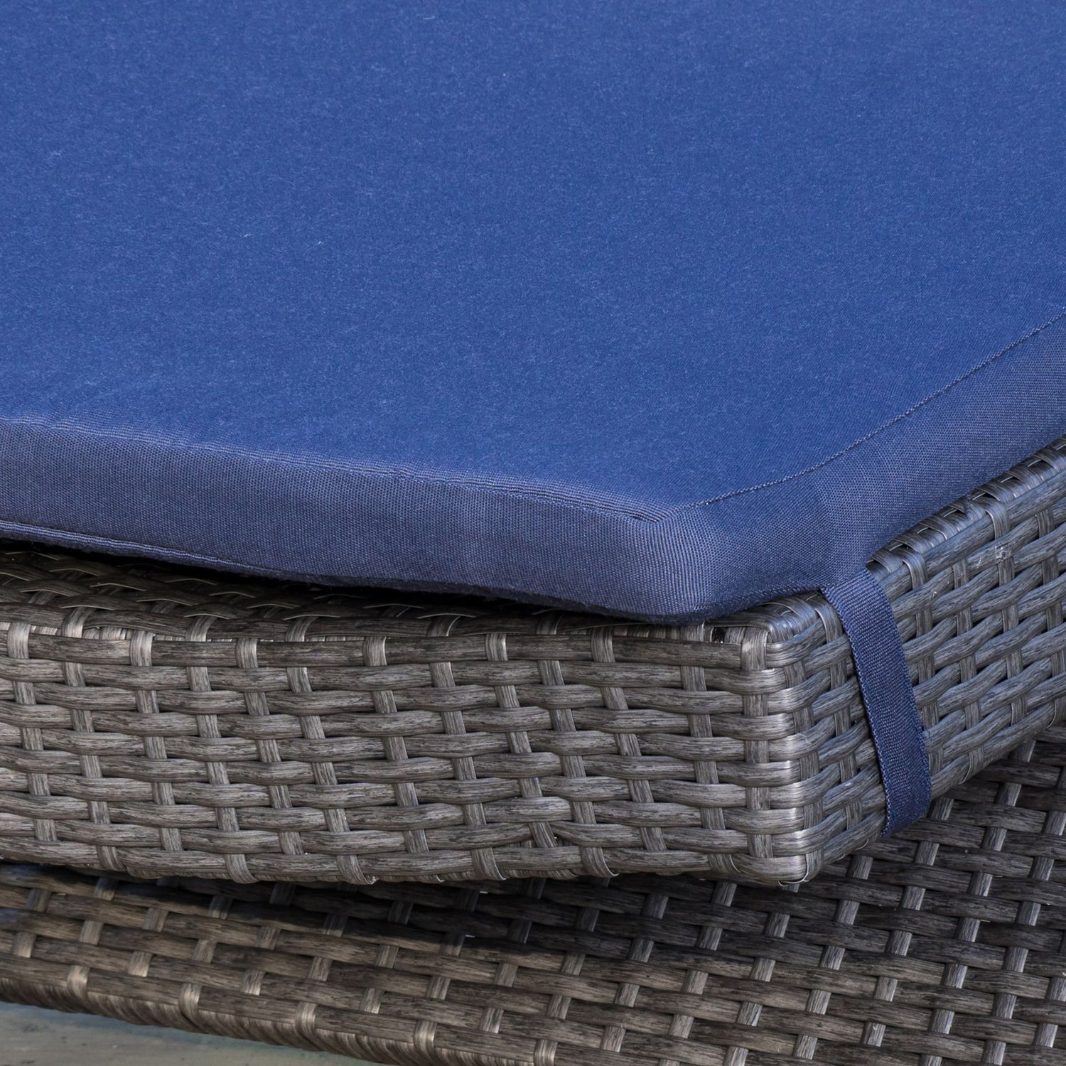 Carlsbad Gray Wicker Chaise Lounge with Navy Cushion Set