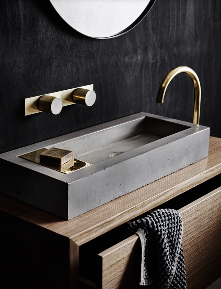 Aphra Wall Hung Timber Vanity Unit, Zoe Concrete Basin With In Set Brass  Soap Dish Visible, Mabel Brass/marble Taps On Brass One Piece Backplate, ...