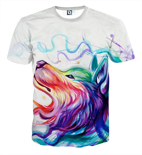 Wolf Side View Amazing Rainbow Colors Design Stylish T Shirt Stylish Tshirts Rainbow Colors Wolf Side View