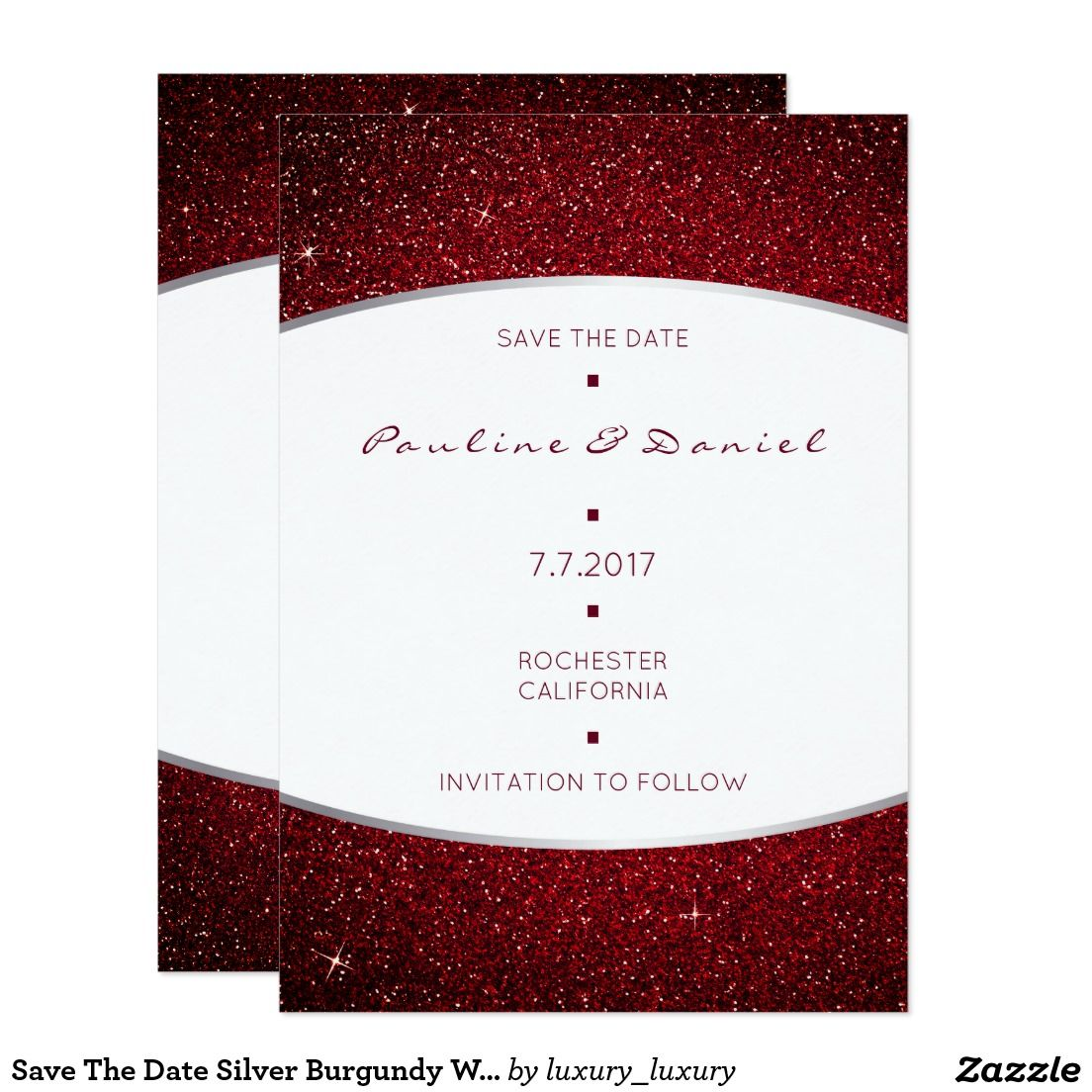 Save The Date Silver Burgundy White Gray Glitter | Pinterest | Wedding